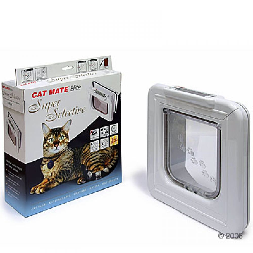 Cat Mate Elite Super Selective is a cat flap with individual entrance and exit controls and a timer function ideal for up to 8 cats or small dogs