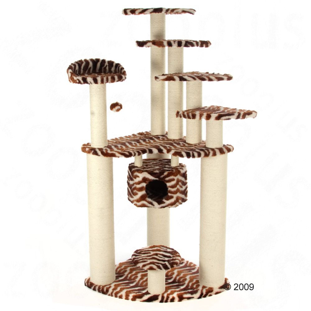 Aruba Cat Tree features posts with an especially thick diameter of 11 and 18 cm and are wrapped in very robust sisal