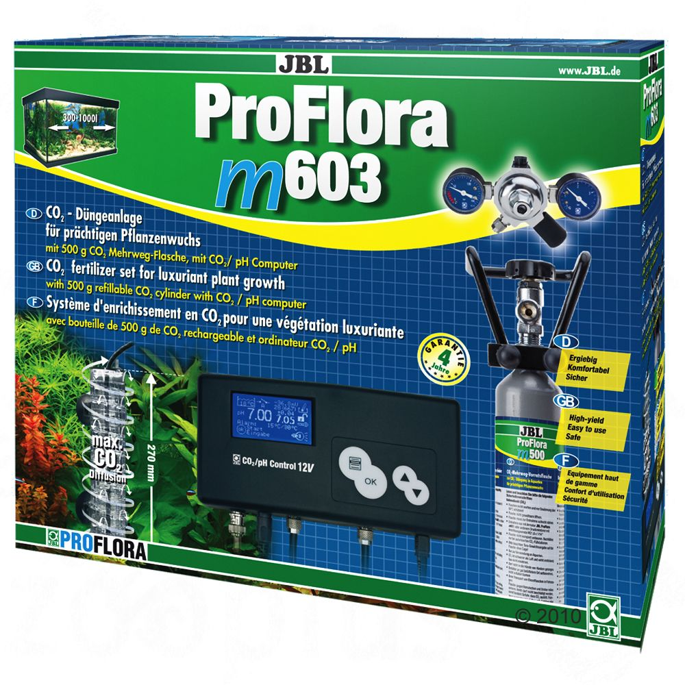 The new JBL ProFlora CO2 systems meet all the wishes of aquarium enthusiasts The complete solution for aquarium enthusiasts the JBL ProFlora CO2 m systems come complete with liquid fertiliser (JBL Ferropol) and daily fertiliser (JBL Ferropol 24)