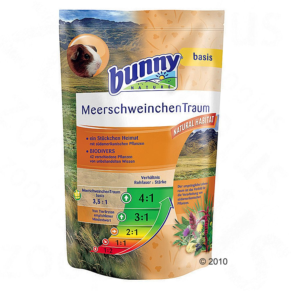 MeadowFeast Basic for guinea pigs contains valuable nutrients trace elements plenty of vitamin C and has a low calcium content MeadowFeast Basic is a balanced healthy feed