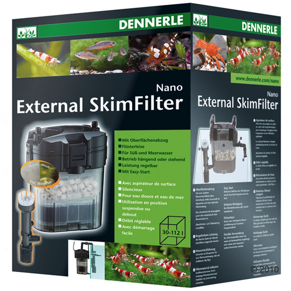 The Dennerle Nano External Skim Filter with its large filter volume and several inlet and outlet options is ideal for nano aquariums of 30 to 112 litres
