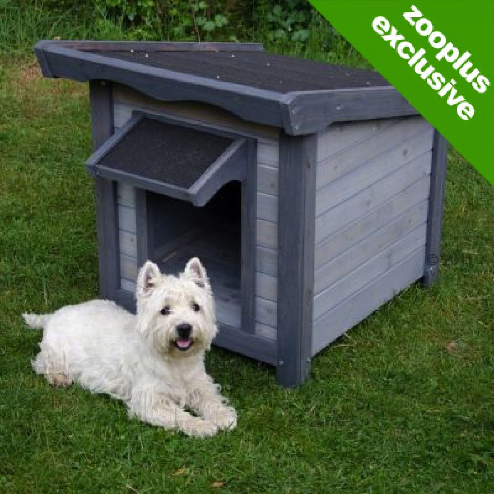 Dog Kennel Sylvan Basic features a lean-to roof with a porch roof over the entrance