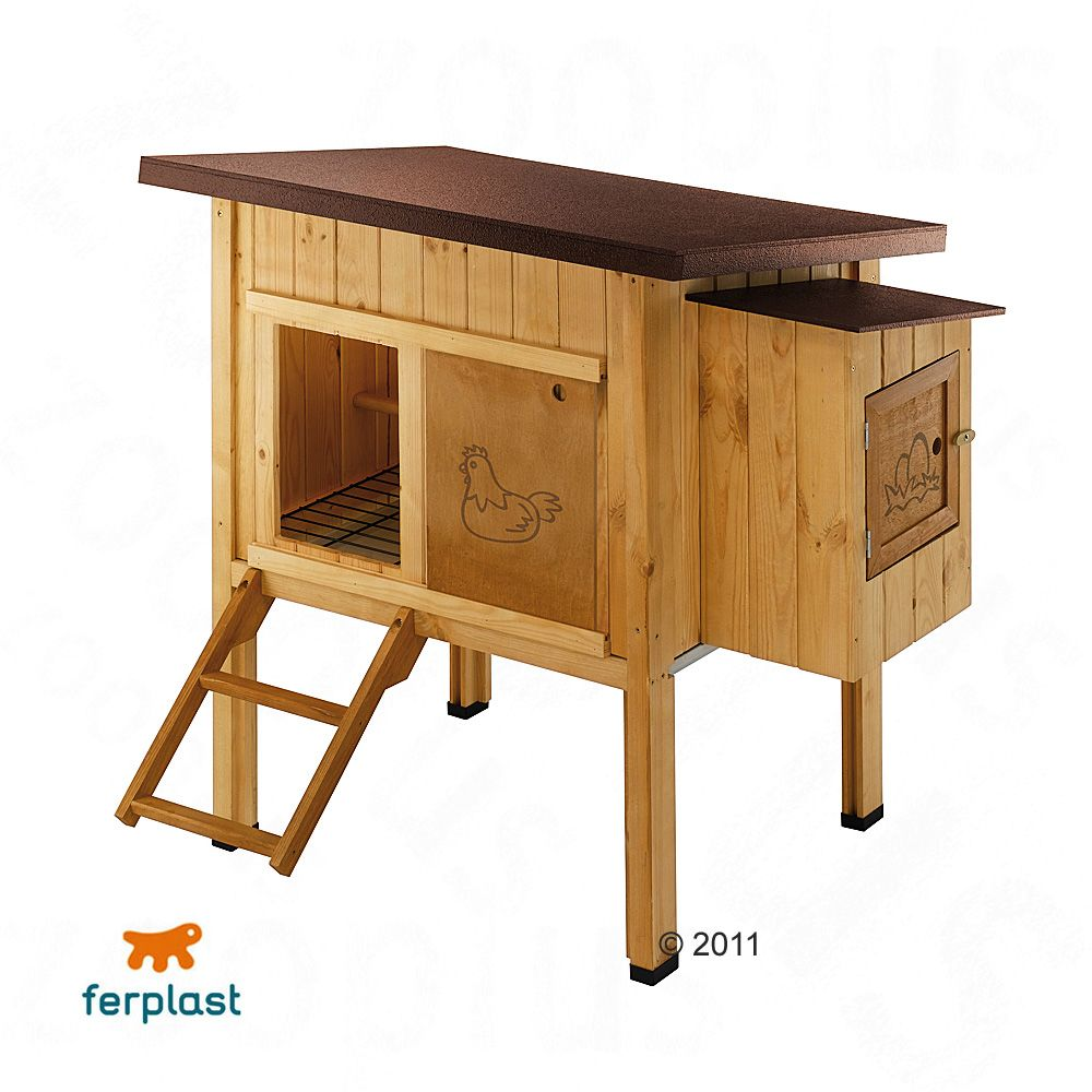 The Hen House from Ferplast is made from Nordic pine wood and is branded with a chicken decoration