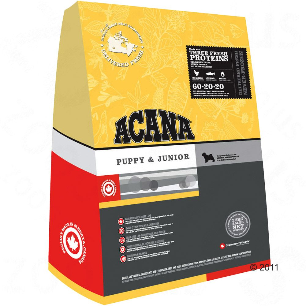 Acana Puppy & Junior dry dog food is suitable for all small and medium sized breeds of puppies and young dogs which are still growing
