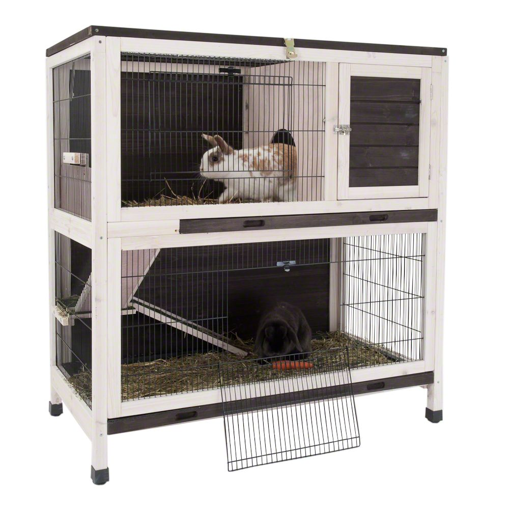 The Lounge Small Pet Cage for rabbits and guinea pigs is made from spruce wood and suitable for indoor use