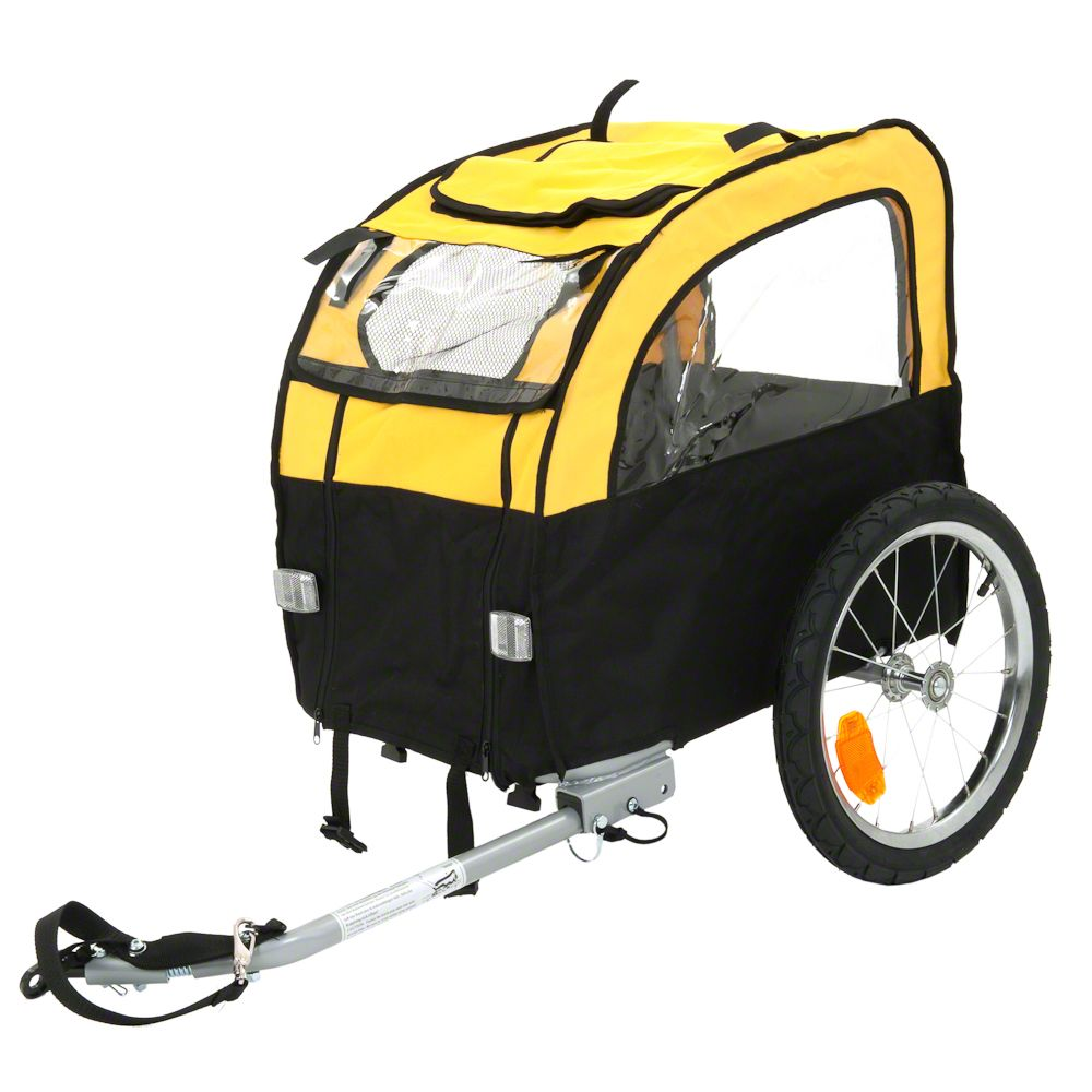 Do you love going on long bike rides but your dog finds it hard to keep up? Then the cheery yellow Mini Bee dog bike trailer is perfect solution