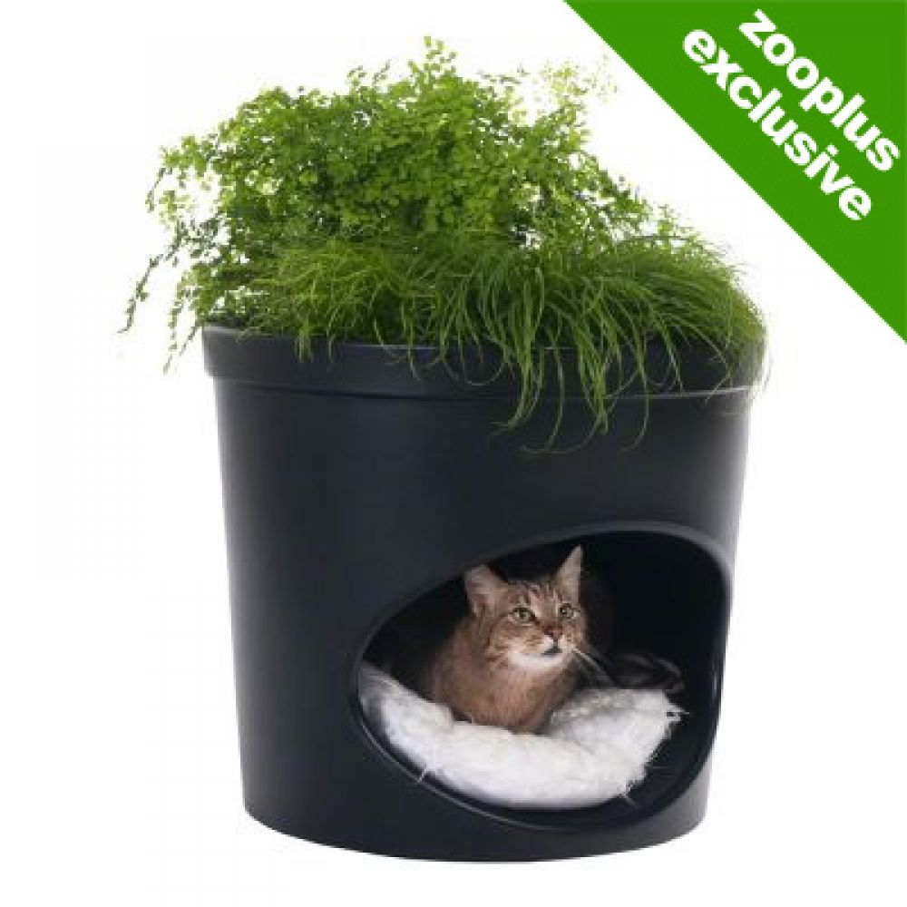 This unique cat den fits in unobtrusively with your décor