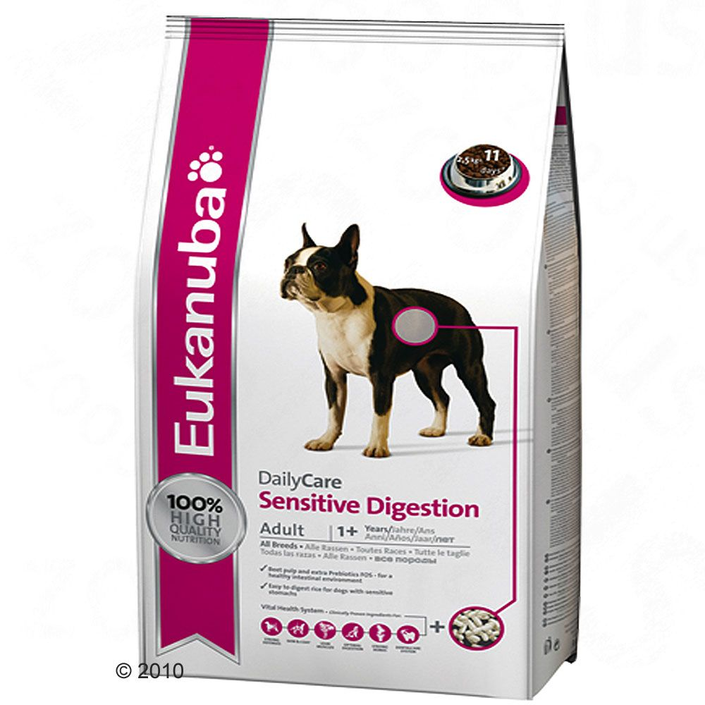 Eukanuba Daily Care Sensitive Digestion is a complete and balanced diet for dogs with sensitive digestion