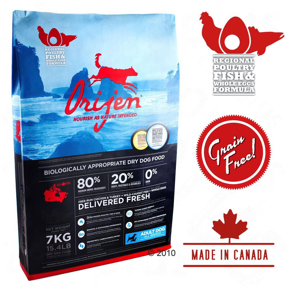Orijen dog food is made in Alberta Canada by an independent family-owned company from fresh Canadian ingredients