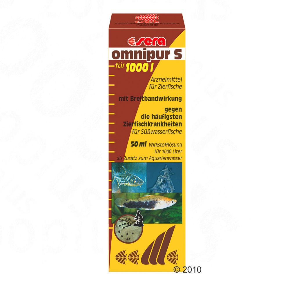 Sera Omnipur S combats the most common ornamental fish ailments in freshwater aquariums Bacterial infection Fin rot Fungal infections(Saprolegnia Achlya) Skin infections (Costia Chilodonella) Trichodina Oodinium Gill and skin worms (Dactylogyrus or Gyrodactylus) External wounds or lesions 50 ml is good for 1000 Liters of Aquarium Water User instructions Shake well prior to use