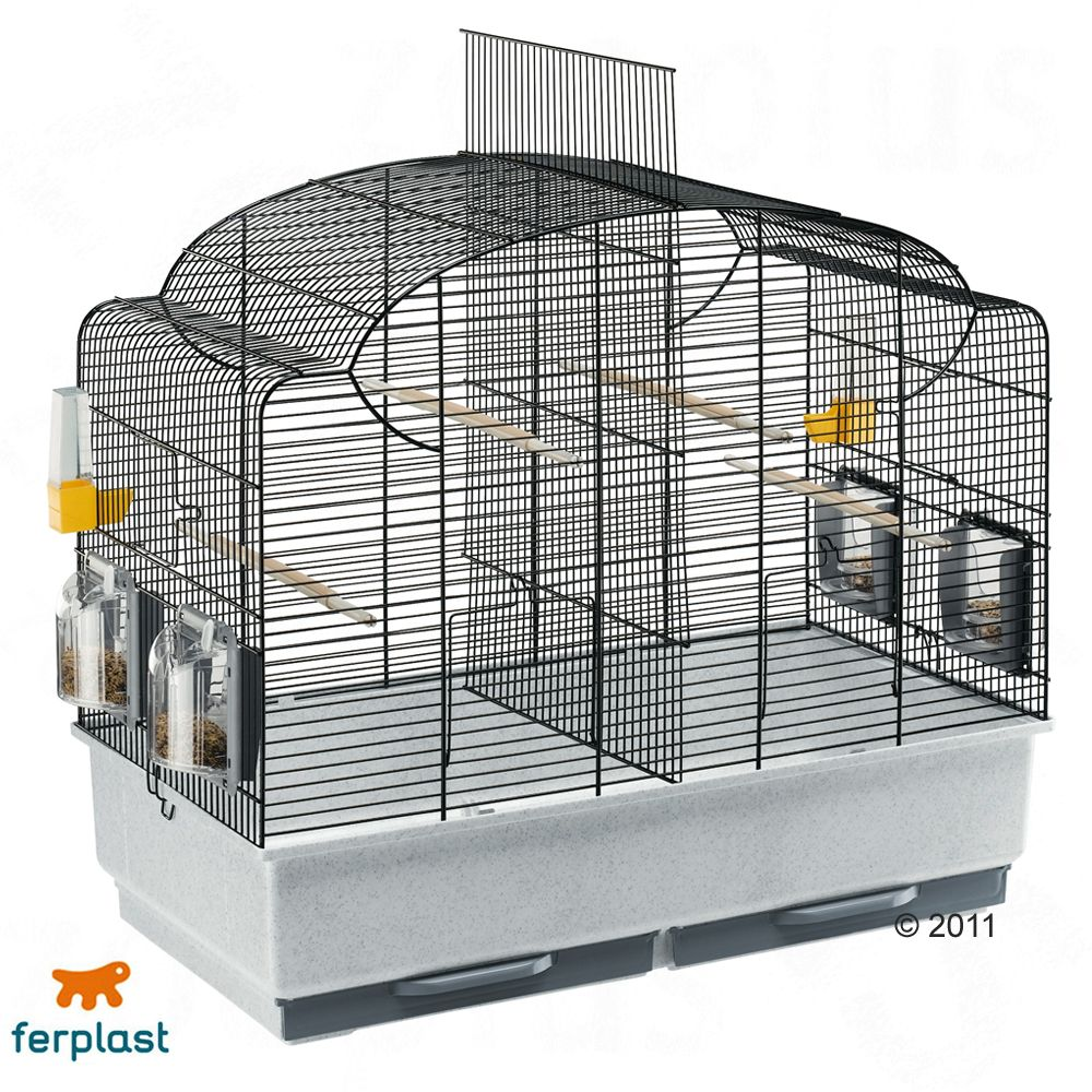 Canto is a shapely cage with basic equipment for parakeets