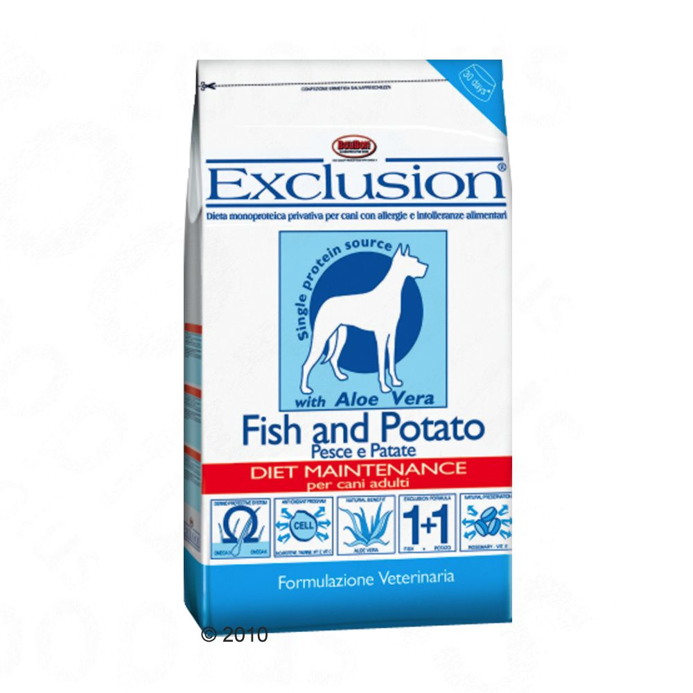 Exclusion Dog Food with Fish and Potato contains North Sea fish