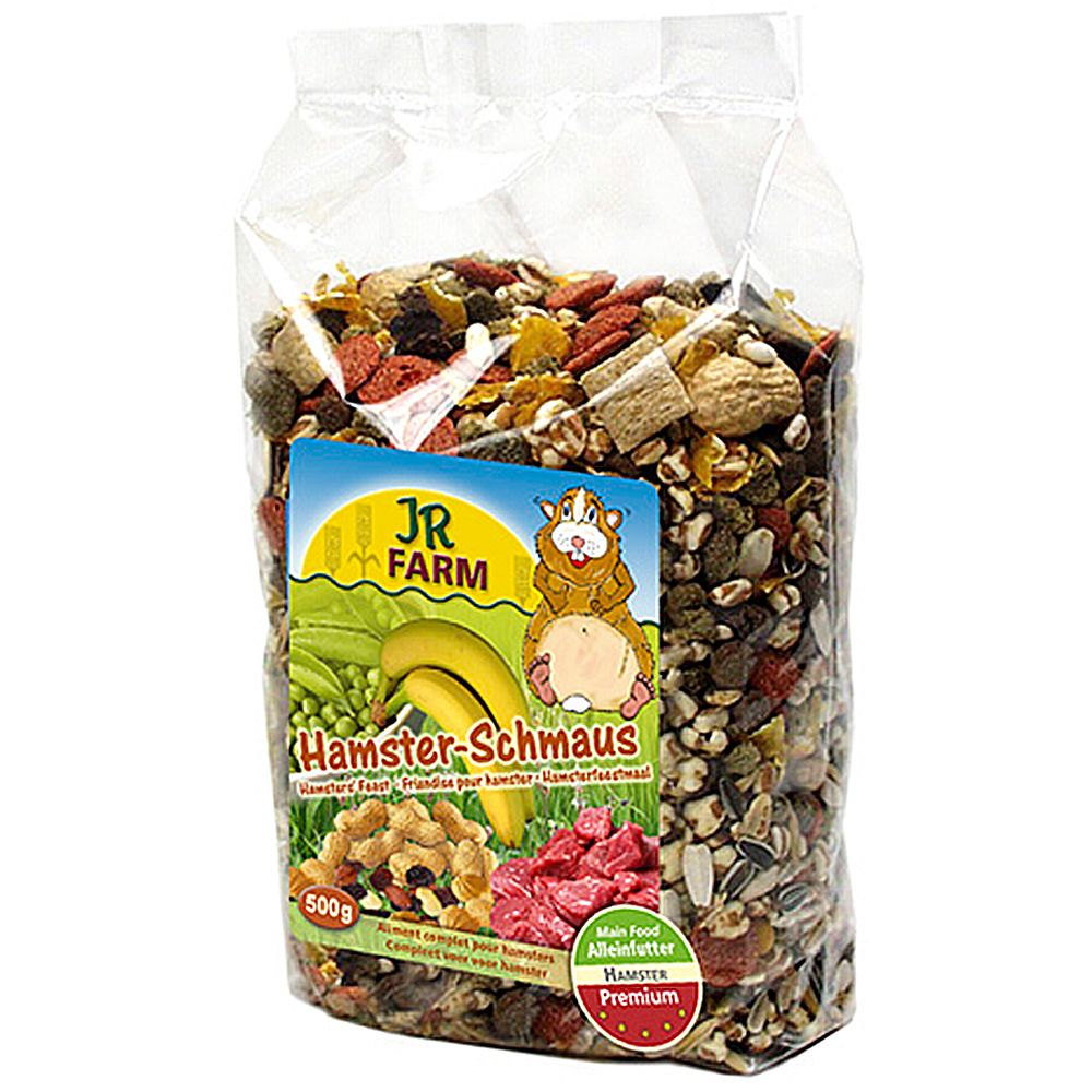 JR Farm Hamster Feast contains ingredients that are ideal for hamster feed and can be transported in a bag