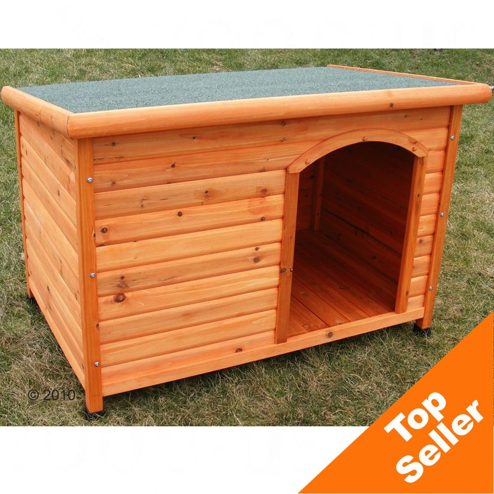 The Flat Roof Dog Kennel has feet raising the house apprx