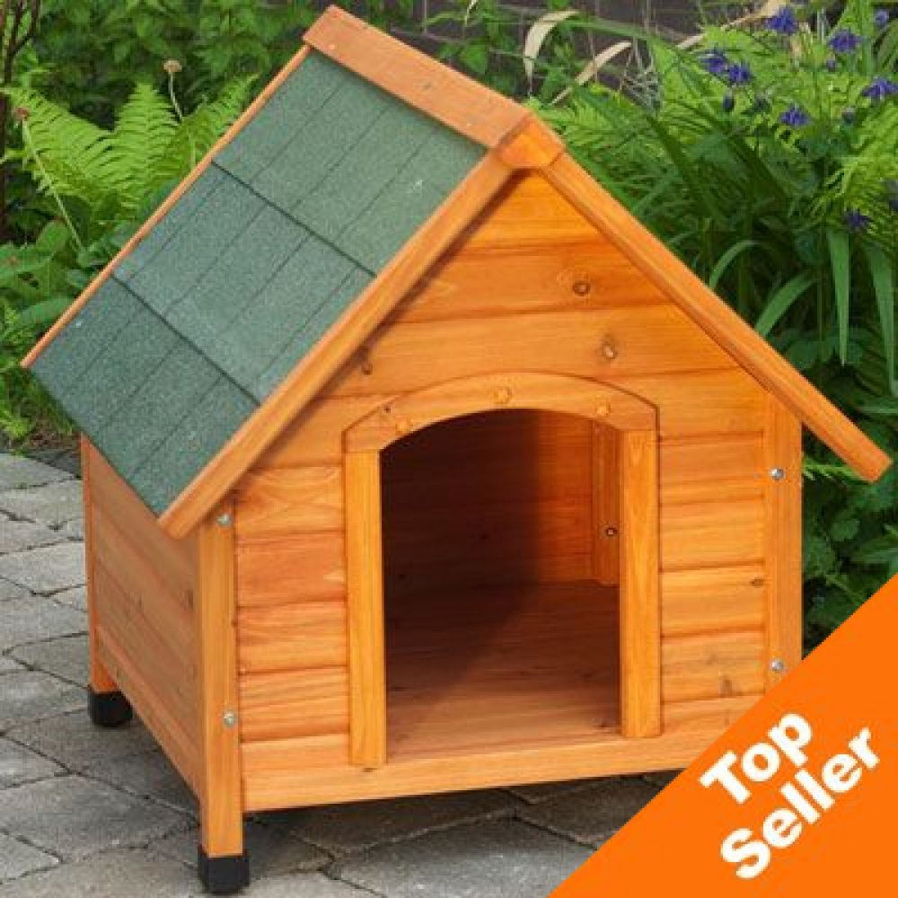 This pitched-roof dog house has everything a four-season dog kennel needs