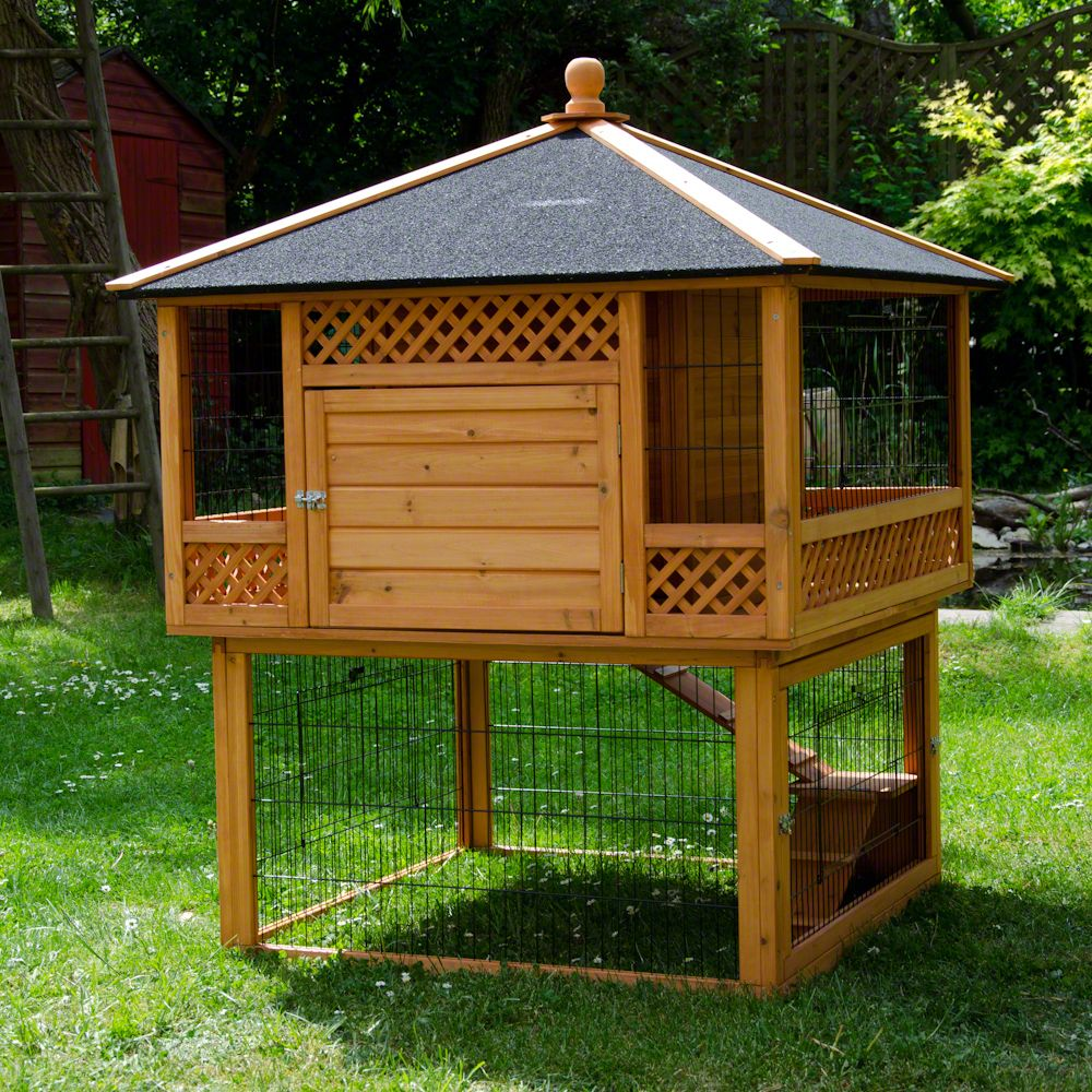 Outback Rabbit Hutch Pagoda is a beautiful home for rabbits and guinea pigs that will be a real eye-catcher in your garden