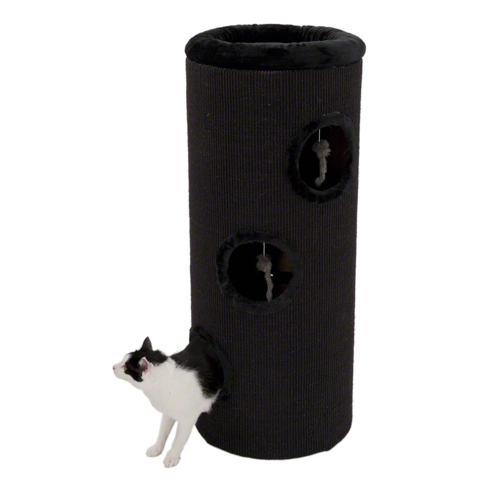 The black Diogenes XXL scratching barrel is a great piece of modern cat furniture
