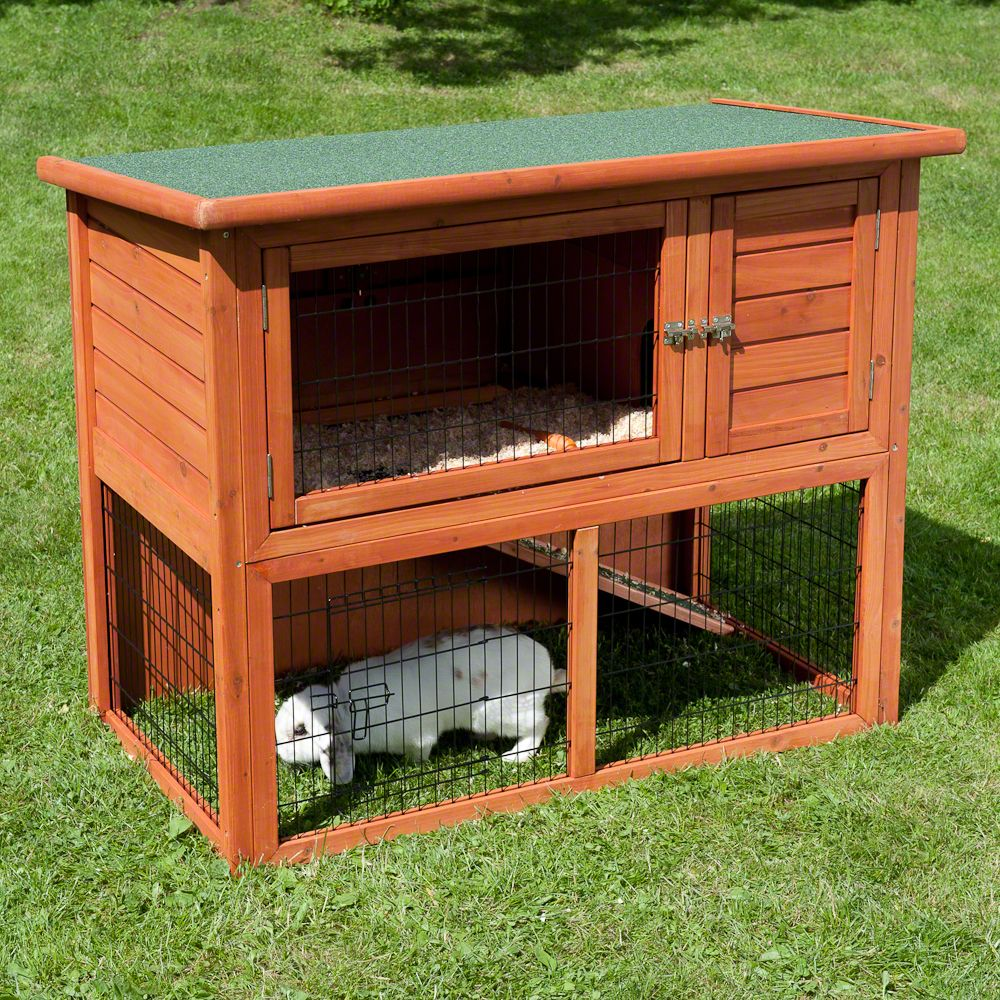The Outback Classic Hutch is a comfy 2-level wooden hutch made of hardened spruce