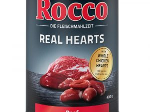 12x400g Real Hearts Beef with Chicken Hearts Rocco Wet Dog Food
