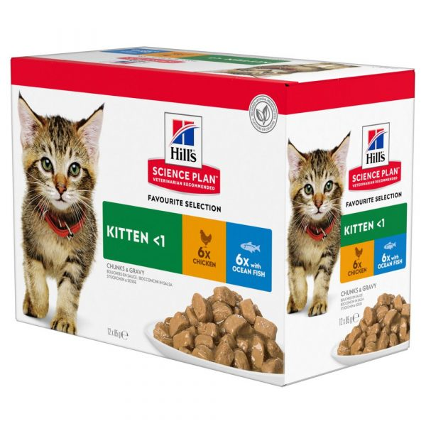 12x85g Fish Selection Kitten Pouches Hill's Science Plan Wet Food