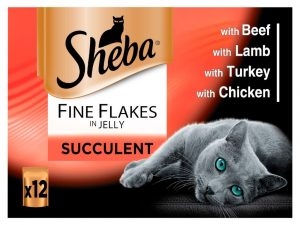 48x85g Fish Collection in Jelly Fine Flakes Sheba Wet cat food