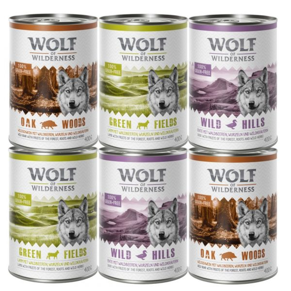 6x400g 3 varieties Mixed Pack Lamb Duck Wild Board Adult Wolf of Wilderness Wet Dog Food