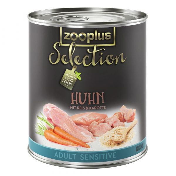 6x800g Adult Sensitive Chicken & Rice zooplus Selection Wet Dog Food