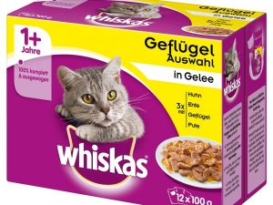 96x100g Poultry Selection in Jelly 1+ Whiskas Wet Cat Food