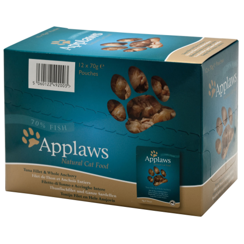 Applaws Tuna & Anchovy Pouches Cat Food 70g x 12