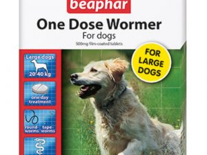 Beaphar One Dose Wormer for Dogs Large Dogs up to 40kg 4 Tablets