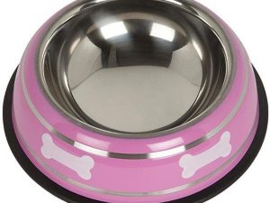 Bunty Stainless Steel Dog Bowl Pink/Small