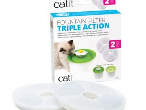 Catit 2.0 Flower Fountain for Cats & Small Dogs 2 Pack Triple Action Filters
