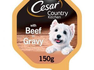 Cesar Tray Country Kitchen Mini Fillets Beef & Turkey in Gravy Adult Dog Food 150g x 14