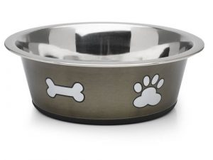 Classic Posh Paws Stainless Steel Dog Bowl Grey