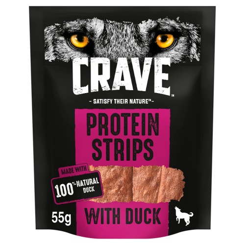 Crave Protein Strips Natural Duck Dog Treats 55g