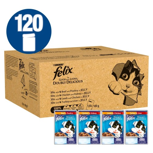 Felix As Good As It Looks Doubly Delicious Meat Selection Adult Cat Food 100g x 120
