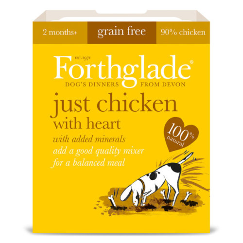 Forthglade Just Chicken with Heart Dog Food 395g x 18