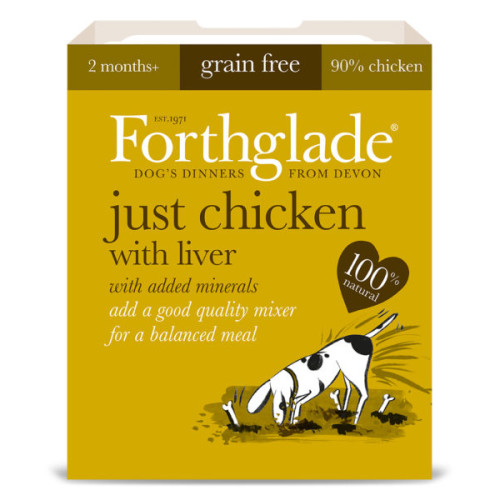 Forthglade Just Chicken with Liver Dog Food 395g x 18