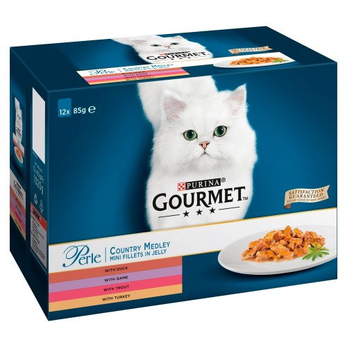 Gourmet Perle Country Medley in Jelly Adult Cat Food 85g x 12