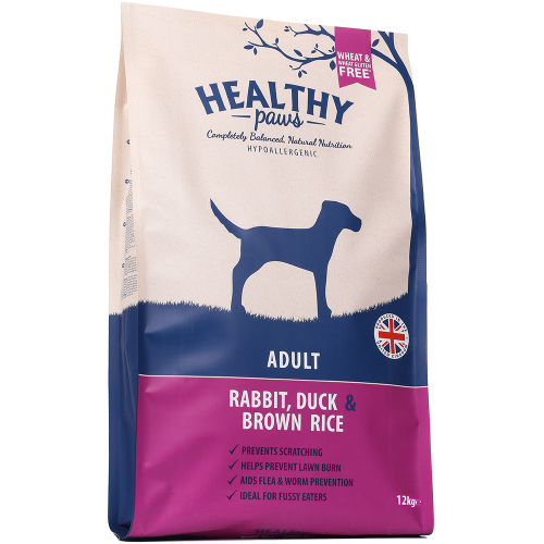 Healthy Paws Adult Rabbit Duck & Brown Rice Dog Food 12kg x 2