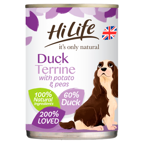 HiLife Its Only Natural Duck Terrine Wet Adult Dog Food 395g x 6