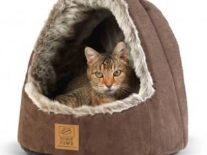 """House of Paws Hooded Arctic Fox Cat Bed 13.7"""" L x 15.5"""" W x 14.5"""" H"""