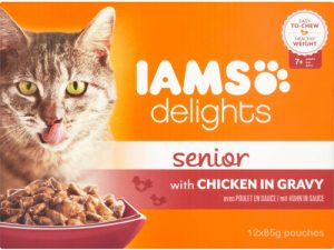 IAMS Delights Chicken in Gravy Senior Selection Cat Food Pouches 85g x 12