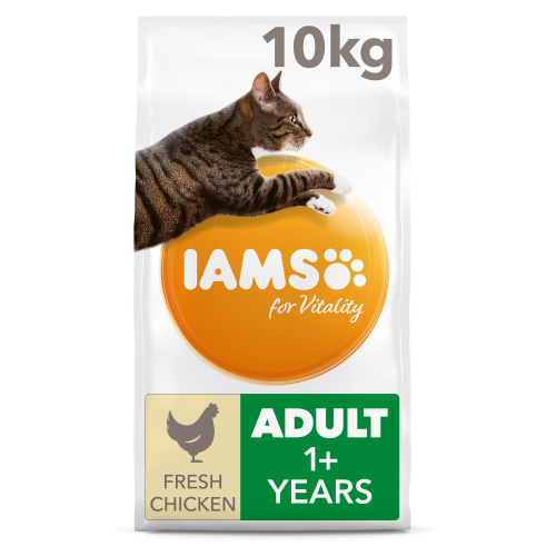 IAMS for Vitality Chicken Adult Dry Cat Food 10kg x 2
