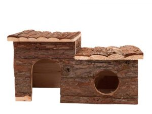 Log Cabin with Roof Terrace for Small Pets - 43 x 28 x 22 cm (L x W x H)
