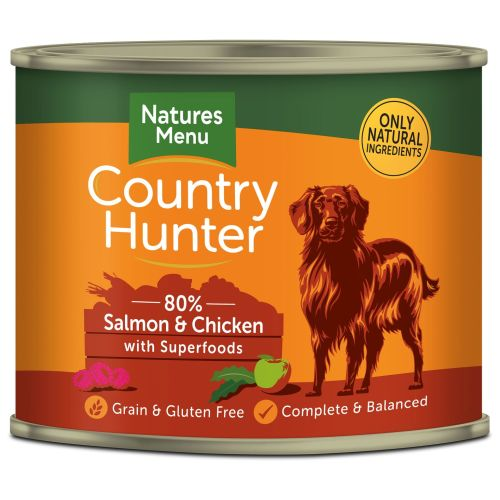 Natures Menu Country Hunter Salmon & Chicken Adult Dog Food Cans 600g x 24