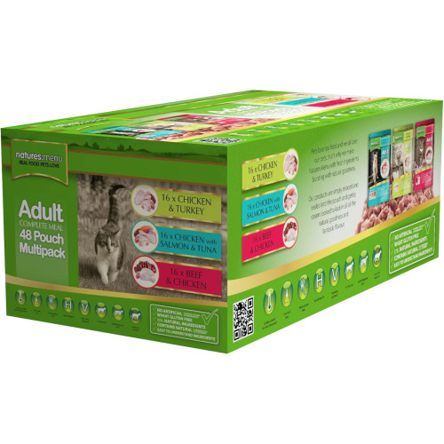 Natures Menu Multipack Adult Cat Food Pouches 100g x 48