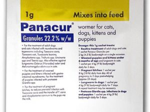 Panacur Wormer Granules for Dogs & Cats 1g Yellow Sachet NFA-DC
