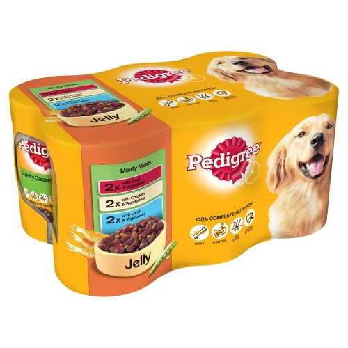 Pedigree Meaty Meals in Jelly Wet Adult Dog Food Tins 400g x 6