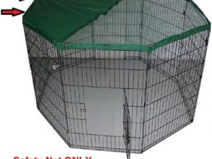 Pet Play Pen Enclosure – Silver with Safety Net